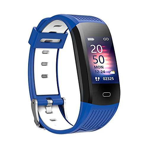 B Blesiya Reloj Inteligente para teléfonos Android e iOS rastreador de Actividad Reloj de Fitness podómetro - Azul Blanco