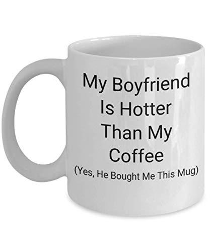 Hatoful - Taza para novio, mi amante es más caliente que mi café, divertida y romántica idea de regalo para hombre sexy, travieso y sucio, novio, Romeo, alma gemela, microondas, apto para lavavajillas