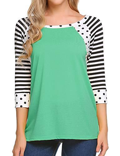 Zeagoo Womens Striped Contrast Color Tops 3/4 Sleeve Baseball Tee Shirt Polka Dot Blouse, Aqua Green, Large