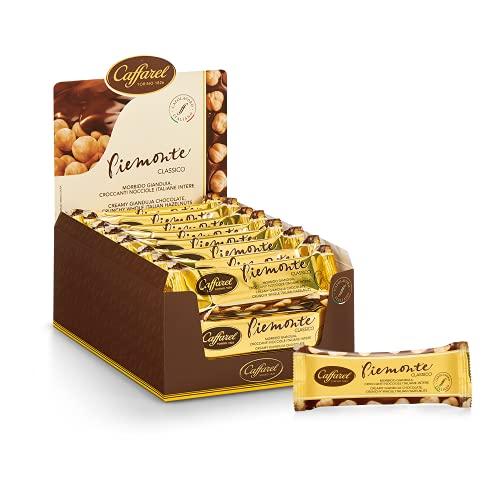 Caffarel Piemonte Snack Cioccolato al Latte con Nocciole Intere 100% Italiane, scatola 24 snack