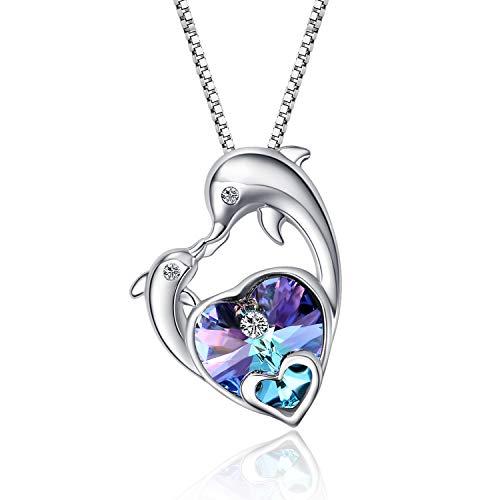 WINNICACA Delphin Halskette Sterling Silber Lila Kristall Herz Ozean Delfin Halskette Anhänger Geschenke für Frauen Mädchen