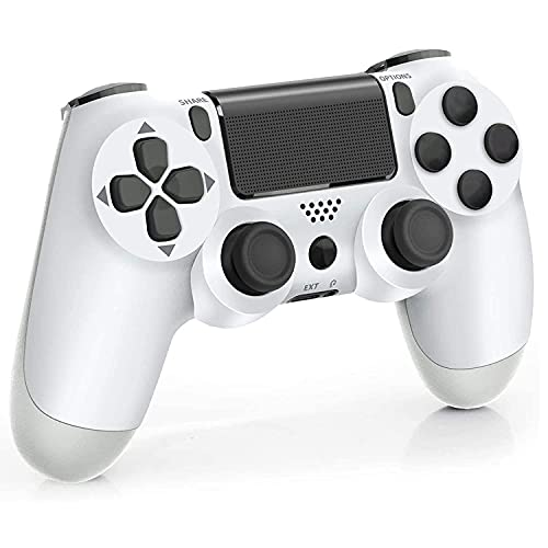 Controller for PS 4, Wireless Bluetooth Gamepad Joystick Remote Controller for PS-4/PRO/SLIM with Motion Motors and Audio Function Non-OEM, (Glacier White)