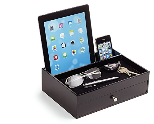 Massca Valet Charging Station Multi-Device Office Desk Organizer Perfect Nightstand Organizer Great for Your Wallet, Keys, Phones & Other Electronic