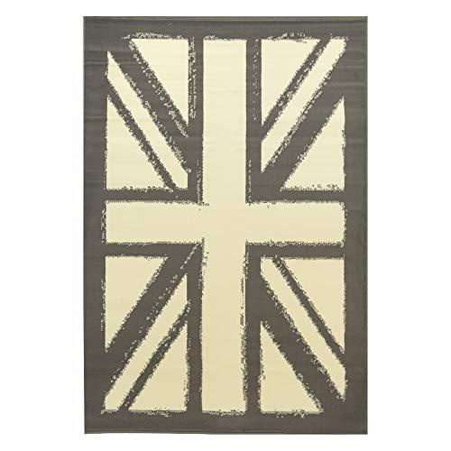 Debonsol - Tapis Salon Classique Drapeau Anglais Union Jack Gris 120x170cm