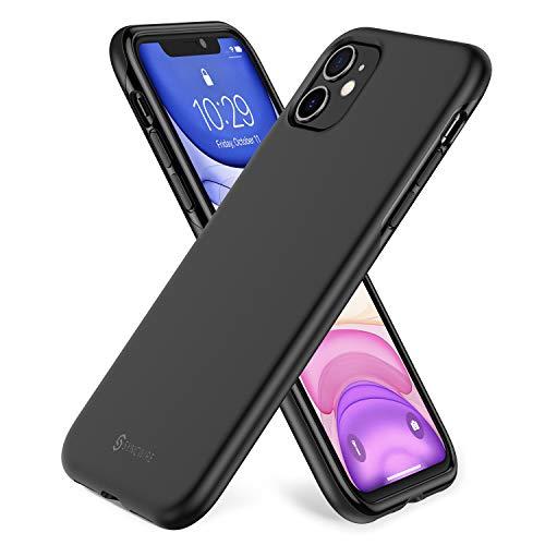 Syncwire Hülle kompatibel mit iPhone 11, iPhone 11 Schlanker Passform TPU Handyhülle Stoßdämpfend Silikonhülle, Einteilige Schutzhülle mit Fallschutz-Technologie für 6,1 Zoll iPhone 11- Mattschwarz