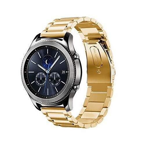 Gear S3 Frontier Correa compatible con Galaxy Watch de 46 mm, correa GT de 2 mm, compatible con Galaxy Watch Active Correa de repuesto (color dorado)