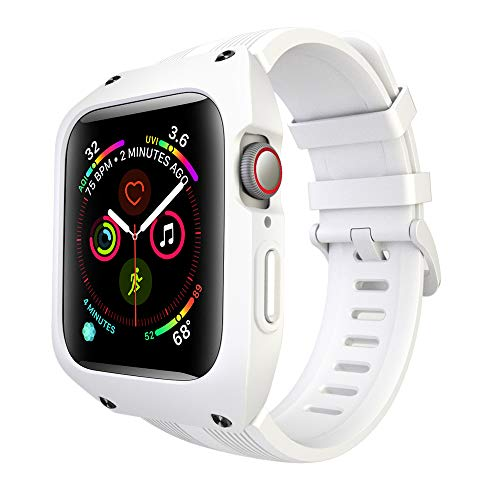OXWALLEN Band Compatible for Apple Watch Band 44mm Series 4/5, Smooth Silicone Mens Women Sport Strap Bands with Screen Bumper Case Replacement Apple Watch Band 44mm Series 4/5, White