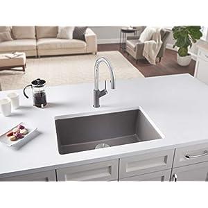 "Blanco 27-27x18 522428 Precis 26-13/16"" Single Bowl Silgranit Undermount Kitchen Sink Metallic Gray, 1, Grey"