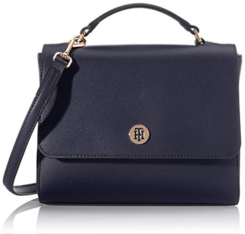 Tommy Hilfiger Damen Honey Flap Satchel Tornistertasche, Blau (Sky Captain), 1x1x1 cm