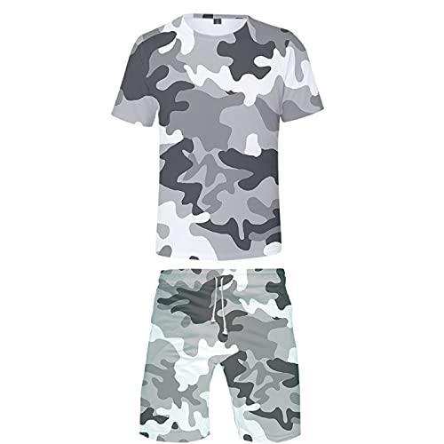 Verano Unisex 3D Camiseta Estampada Divertida Camisetas de Manga Corta y Pantalones Cortos de Natación Troncos de Playa Pantalones de Gimnasio de Surf con Cordón para Vacaciones(Gris1,S)