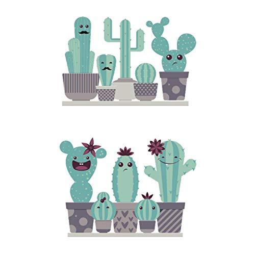 Jardín plantas en maceta cactus aloe pegatinas de pared decoración del hogar sala de estar flor mariposa bonsai tatuajes de pared diy mural art poster 90 * 59 cm