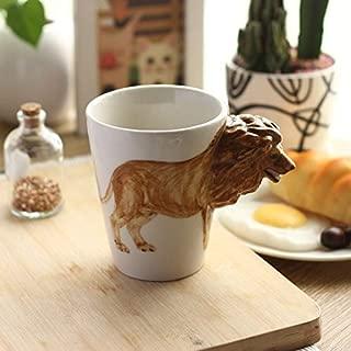 BOOMZZ Taza De Cerámica Pintada A Mano 3D Taza De Animal De Dibujos Animados Lindo Taza De Café Taza De Agua Potable De Oficina 350Ml León