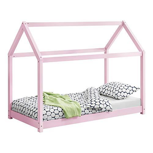 [en.casa] Letto per Bambino a Forma di Casetta 80 x 160 cm Lettino di Design Struttura in Legno in Stile Montessori - Color Rosa