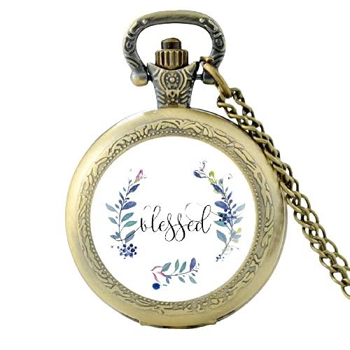 Reloj de bolsillo clásico de cuarzo con texto en inglés 'Versículo de la Biblia' para hombres y mujeres