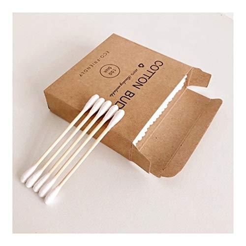 YUELANG Plastique 100pcs / Boîte À Double Tête Bamboo Cotton Buds Adultes Maquillage Coton Swab Bois Sticks Nez Oreilles Nettoyage des Outils De Soins De Santé (Color : 100Pcs)
