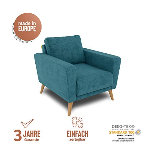 KAUTSCH Lotta Hochwertiger Sessel in Petrol zerlegbar - Retro Polsterstuhl - Armlehnen-Stuhl für Wohnzimmer - Sitzmöbel - Holzfüße Eiche massiv