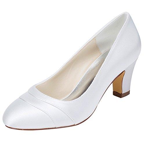 Emily Bridal Brautschuhe Damen Satin Chunky Heel geschlossene Zehe (EU38, Weiß)