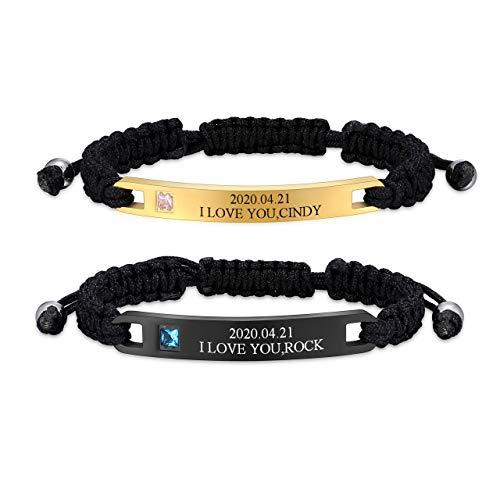 Jovivi Gratis Gravur - Partnerarmbänder geflochtenes Armband mit Edelstahl Rechteck Freundschaft Armreif