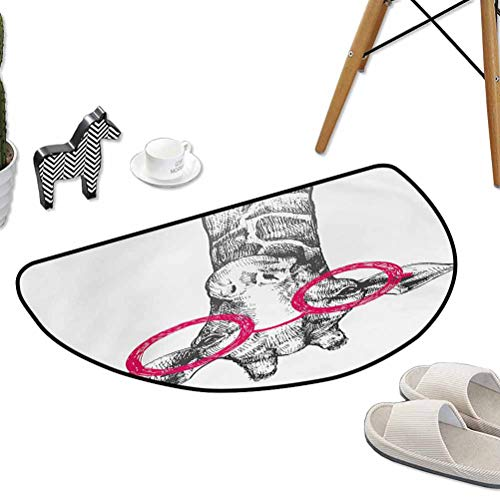 Bath Mat Set Kitchen Door Cute Hipster Animal Retro Fashion Round Glasses Summer Time Love Hand Drawn Style W24 x L16 Half Round Best Floor mats