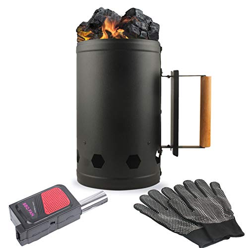 Eau Black Charcoal Chimney Starter, 11x6.5 Inch Chimney Starter with Set Fireplace Accessories for BBQ Charcoal Grill Briquette Coal Fire Starter Chimney, Quick Rapid Fire Briquette Charcoal Starters