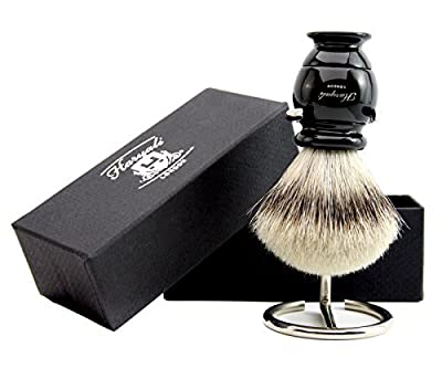 Best Shaving Brush Gift Case Black Base With Sliver Tip Badger Hair Brush And Brush Stand For Men's