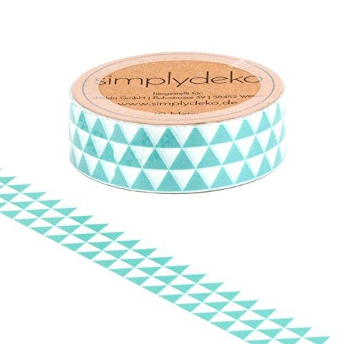 Simplydeko Washi Tape - Masking Tape - Wundervolles Washitape Bastel-Klebeband aus Reispapier - Dreiecke in Mint