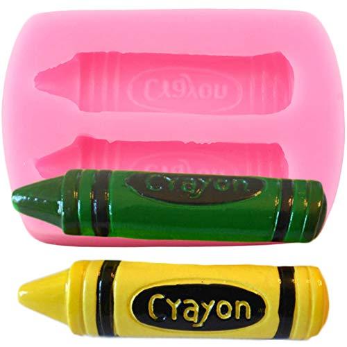 WQSDPainting Crayon Molde de SiliconaDibujo lápiz Cupcake Topper Fondant Herramientas de decoración de Pasteles Dulces Chocolate gumpaste moldes
