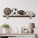 Etiqueta de la pared para niños Estantería con pelotas Baloncesto fútbol Rugby Béisbol tenis y pelotas de golf Ideal para amantes de los deportes 120x42cm