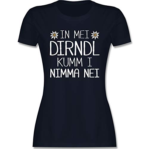 Oktoberfest & Wiesn Damen - In MEI Dirndl kumm i nimma nei weiß - XXL - Navy Blau - Kurzarm - L191 - Tailliertes Tshirt für Damen und Frauen T-Shirt