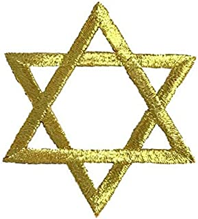 LARGE Hannukah Jewish Star of David GOLD Iron on Embroidered Patch Applique