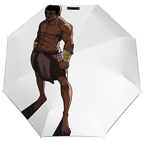 Neterou Ousit African Gods paraguas totalmente automático de viaje plegable antiultravioleta, resistente, resistente al sol, resistente al sol, a prueba de lluvia, vinilo a la moda