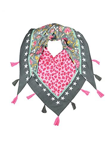 Zwillingsherz Dreieckstuch mit Blumen-Leo-Design- nachhaltig - Eleganter Frühlingsschal – Tuch für Frauen Damen Mädchen - Hochwertiger Freizeitschal - Halstuch Stola - Frühjahr Sommer Herbst