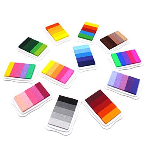 Toyvian Sello de Tinta de Dedo Diy Craft Gradiente Color Almohadillas de Tinta Huella de Nacimiento Sellos Regalo para Hacer Papel de Scrapbooking (Color Aleatorio)