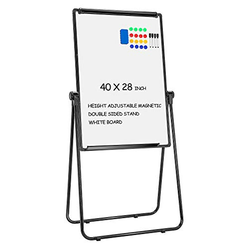 VIVOHOME 40 x 28 Inch Magnetic Height Adjustable Stand White Board Double Sided Dry Erase Board Easel 360 Degree Rotating with Flipchart Holder, Paper Pads, Magnets, Eraser