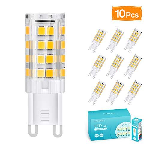 G9 LED Lampe, TASMOR 5W G9 LED Leuchtmittel 550 Lumens 3000K Warmweiß Kein Flackern, G9 LED Ersetzt 50W Halogenlampen, 360° Abstrahlwinkel, CRI> 80, Nicht Dimmable, 220-240V AC, 10 Stück