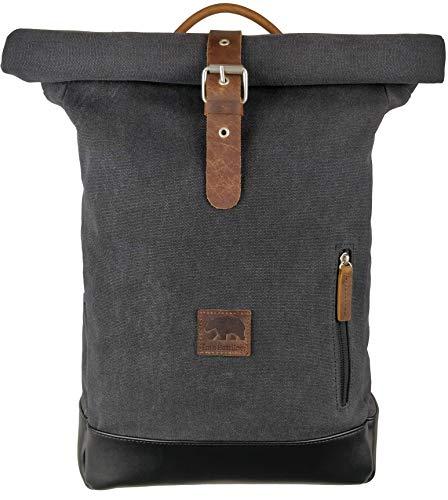 I'm a Bearliner® - Rolltop Rucksack | aus Baumwolle Canvas und Leder | Tagesrucksack Daypack Alltag Uni | Damen & Herren | grau