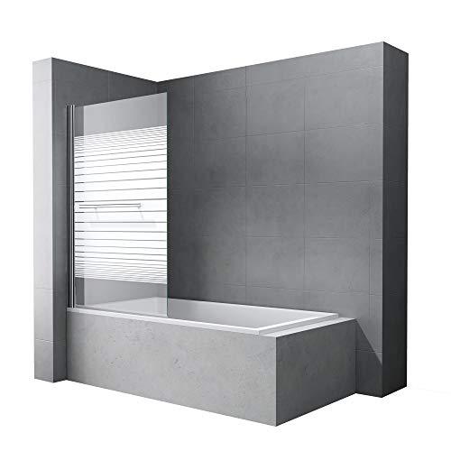 doporro BxH: 90x140 cm Design Duschabtrennung Cortona1122,Badewannenaufsatz, 6mm ESG-Sicherheitsglas teilsatiniert, inkl. Nanobeschichtung, Badewannenfaltwand
