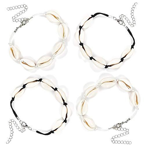 CAILI 4 pcs Muschelarmbänder - Verstellbares Armband im Hawaiianischen Stil, Gewebtes Strandarmband Aus Baumwolle, Kreatives Armband (2 Schwarze Seile, 2 Weiße Seile)