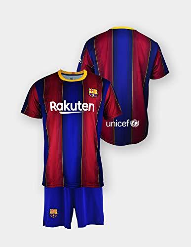 Conjunto Camiseta y pantalón Replica FC. Barcelona 1ª EQ Temporada 2020-21 - Producto con Licencia - Dorsal Liso - 100% Poliéster - Talla niño 14 años