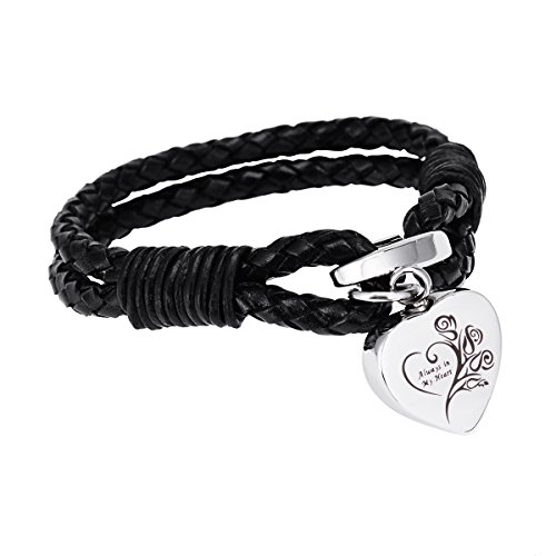 K-Y Engraved Always in my heart Memorial Urn Bracelet Stainless Steel Black Leather Cremation Urn Bracelet Cremation Jewelry