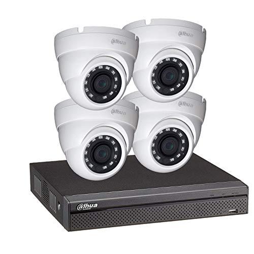 Dahua - Kit de videovigilancia con grabación de vídeo y 4 cámaras domo 1080p, visión nocturna, 30 m, KITECO 4DOM1080P-001