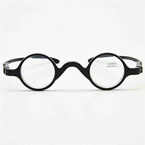 Vidrios de lectura clásicos de EnzoDate, Presbyopia redonda del profesor del músico retro del marco, Lector de bolsillo flexible de los hombres de las mujeres, +1.00 a +3.50 Ven con la caja suave (Fuerza +1.5)