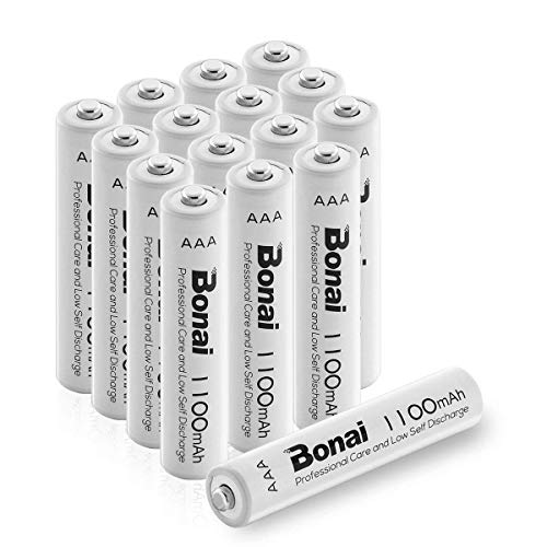 BONAI 1100mAh AAA Rechargeable Batteries 1.2V Ni-MH High-Capacity Batteries AAA 16 Pack - UL Certificate for Garden Lights