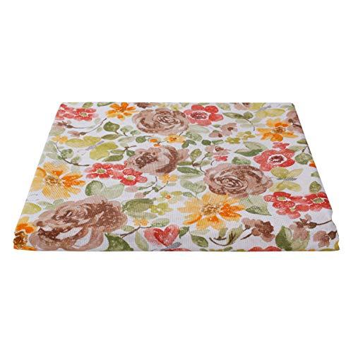 SaRani - Tela mixta de algodón para tapicería, tela con lona, 270 x 270 cm, diseño de flores marrones
