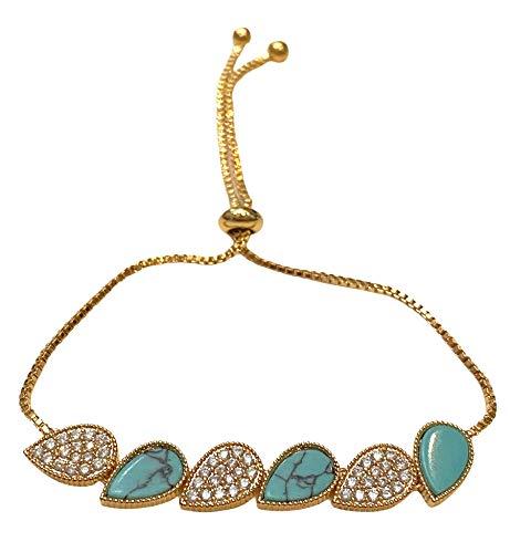Pulsera de moda con diseño de gotas turquesa y circonitas cúbicas doradas, diseño NWT