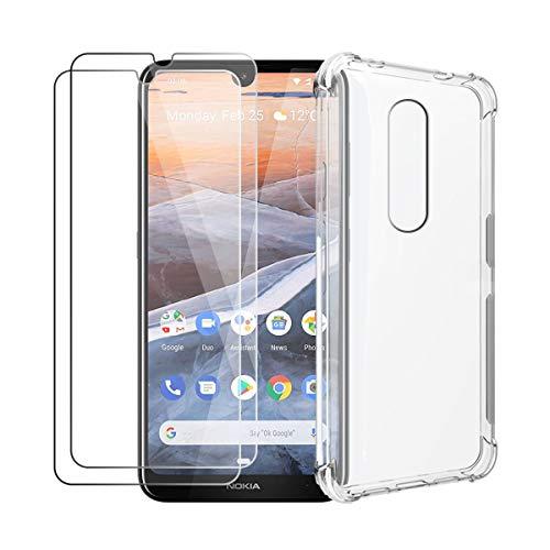 HYMY Custodia per Nokia 3.2 + 2 x Pellicola Protettiva - Trasparente Silicone Case TPU Protettivo Rinforzo a Quattro Angoli Custodia Resistenza sismica Cover per Nokia 3.2 2019 (6.26')