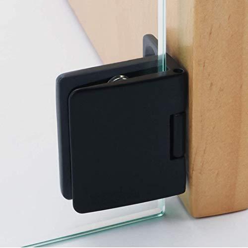 Bisagra de abrazadera, 2 bisagras fijas de aleación de zinc para armario de cristal, puerta de cristal para vidrio de 5 a 8 mm (negro)