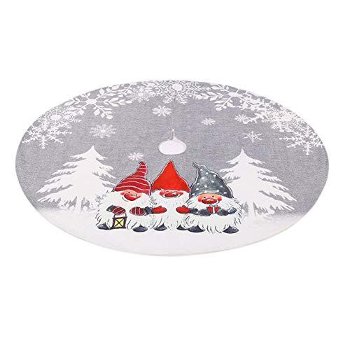 Ahagut Weihnachtsbaum Decke Ornamente Santa Dekoration Tannenbaum Unterlage Tannenbaum Decke Weihnachtsbaumdecke Rund Christbaumdecke(Grey)