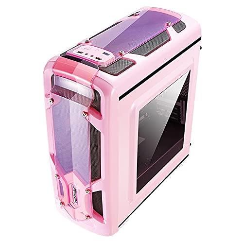 JF-TVQJ Caja Pc Gamer Caja De Juegos para PC Mid-Tower Rosa, Caja De Torre Abierta para Computadora, Panel Lateral De Vidrio Templado, Soporte De Refrigeración por Agua Y Ventilador, ITX/M-ATX