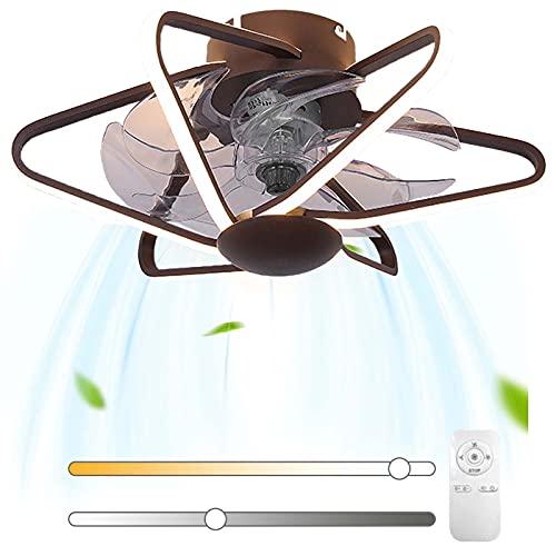 Silencioso Ventilador De Techo Con Iluminación Modo de Reposo Regulable LED Interior Luz de Plafón 3 Temperaturas de Color Invisible Ventiladores Lámpara 54W para Dormitorio Sala de Estar Comedor VOMI
